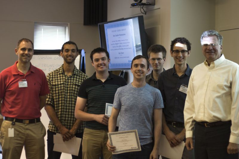 The winners of the 2015 Best Student Prize Competition: (from left to right) Science Director Reiner Kruecken, Steffen Cruz, Alex Laffoley, Clay Lindsay, Koos van Nieuwkoop, Doug Storey, Director Jon Bagger